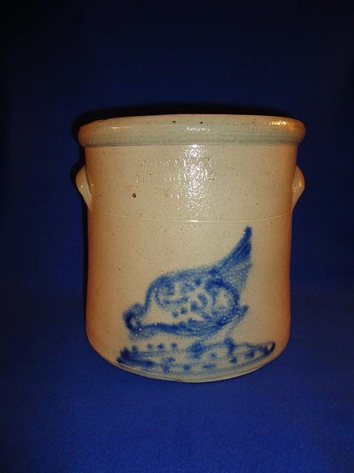 Brady & Ryan, Ellenville, New York Stoneware Crock with Chicken Pecking Corn