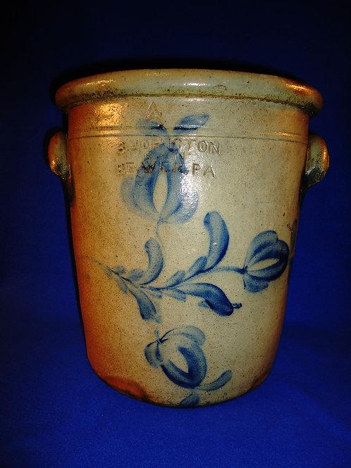 Socrates Johnson, Beaver, Pennsylvania Stoneware 4 Gallon Cream Pot