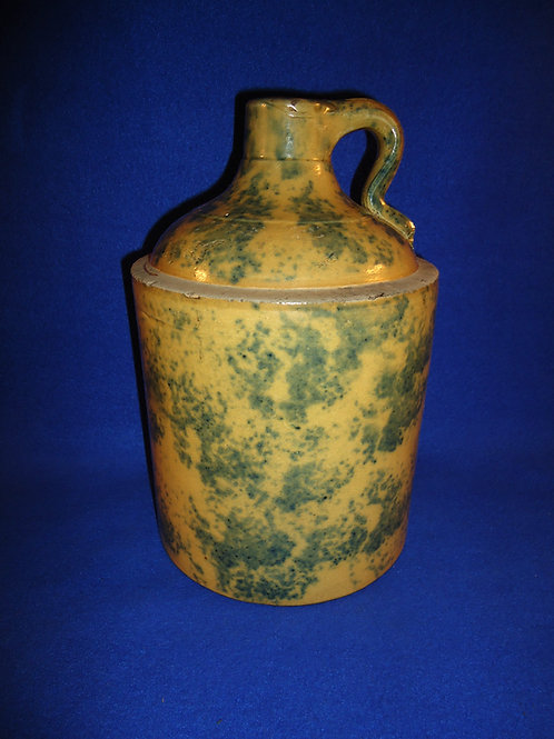 Circa 1900 Yellow Ware Jug with Blue Sponging #4573