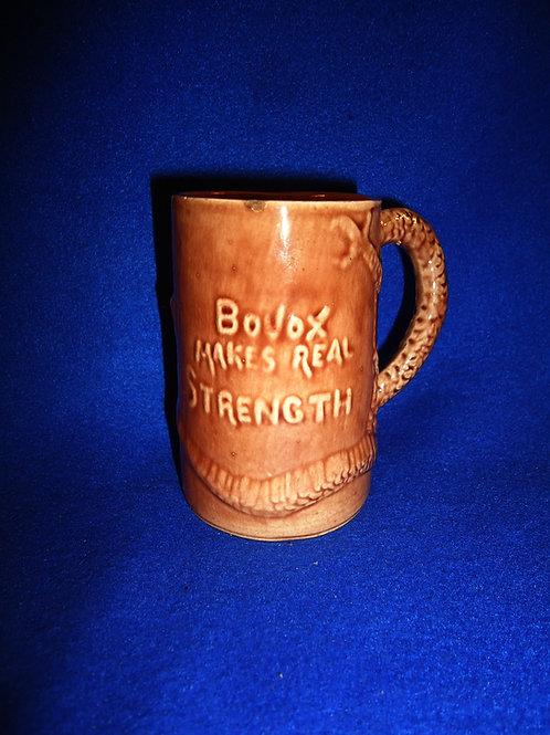 """Circa 1900 Yellow Ware Bovox Mug, """"Makes Real Stength"""""""