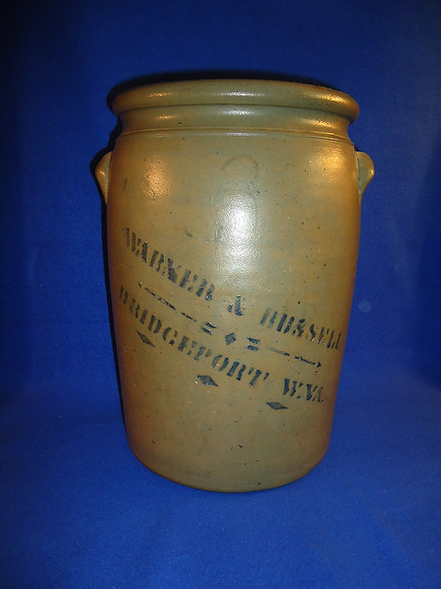 Warner & Russell, Bridgeport, West Virginia 3 Gallon Stoneware Jar