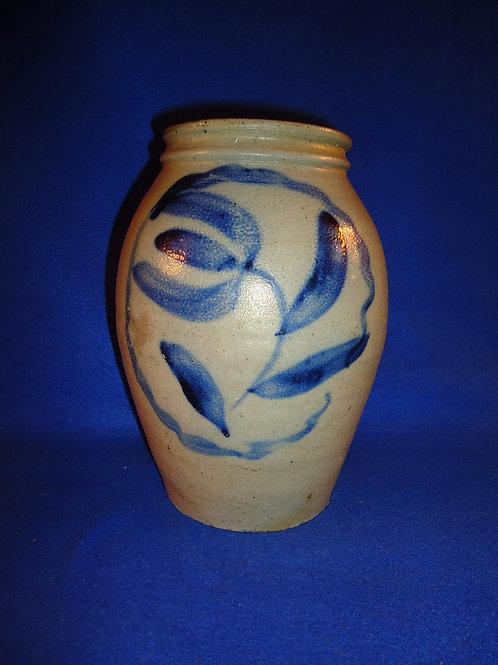 Rare 1/2 Gallon Stoneware Jar with Encased Tulip from Southwest Pennsylvania