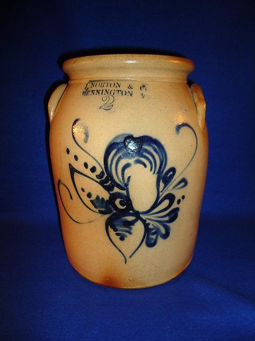 J. Norton, Bennington, Vermont Stoneware 2 Gallon Preserve Jar with Pear