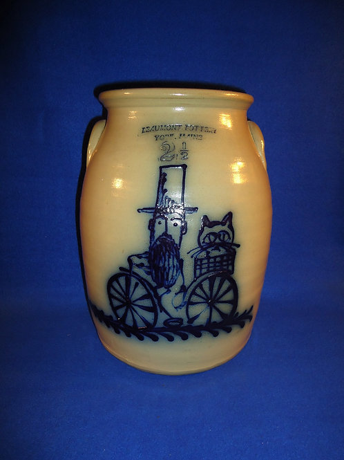 Beaumont Pottery, York, Maine Stoneware Jar with Bearded Man & Cat on Bike #5157