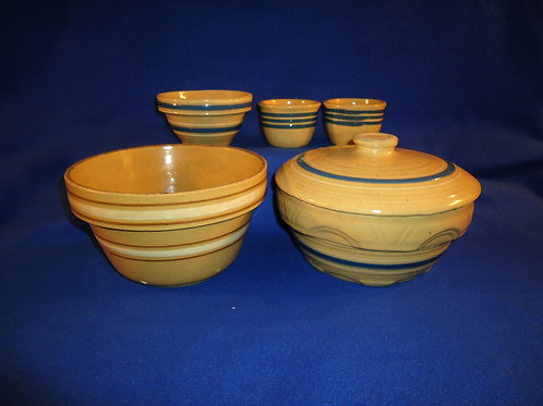Grouping of 5 Pieces of Yellow Ware: 3 Bowls, 2 Custard Cups #5727