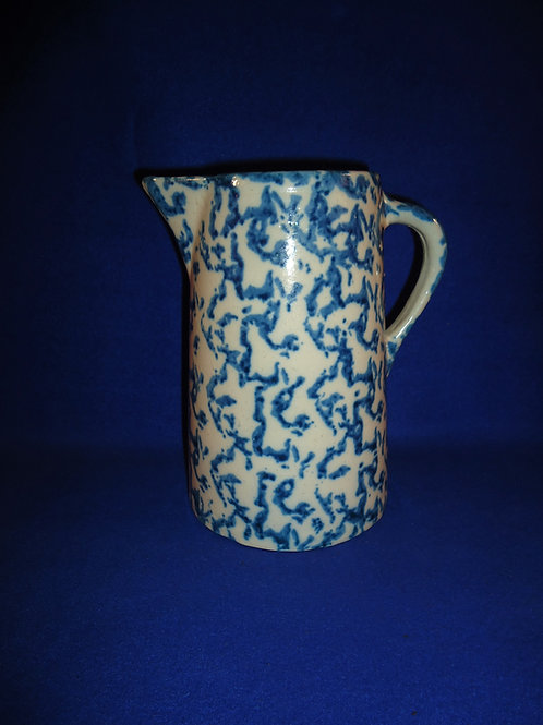"Blue and White Stoneware Spongeware Pitcher 8 3/4"" #5266"