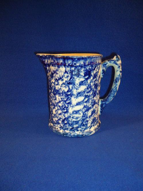 Blue and White Spongeware Hallboy China Pitcher with Dazzling Cobalt