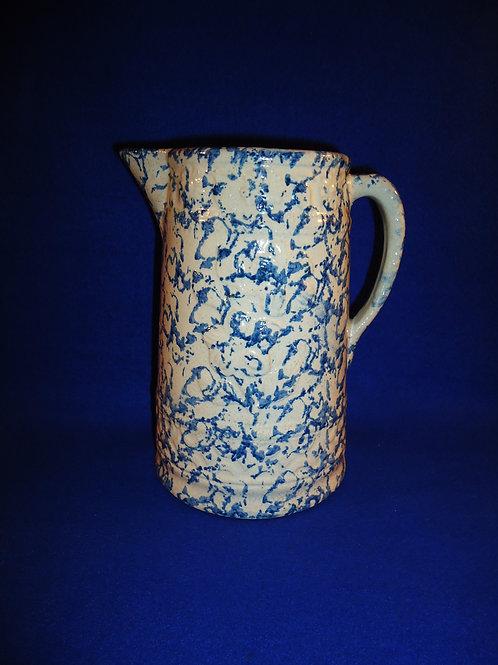 Blue and White Spongeware Stoneware Pitcher, Wild Rose Pattern Item 4568