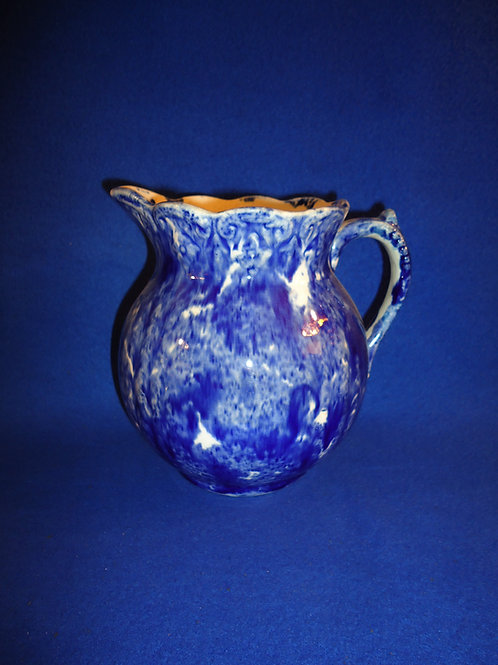 Blue and White Spongeware Pitcher, Scallop and Scroll #5403