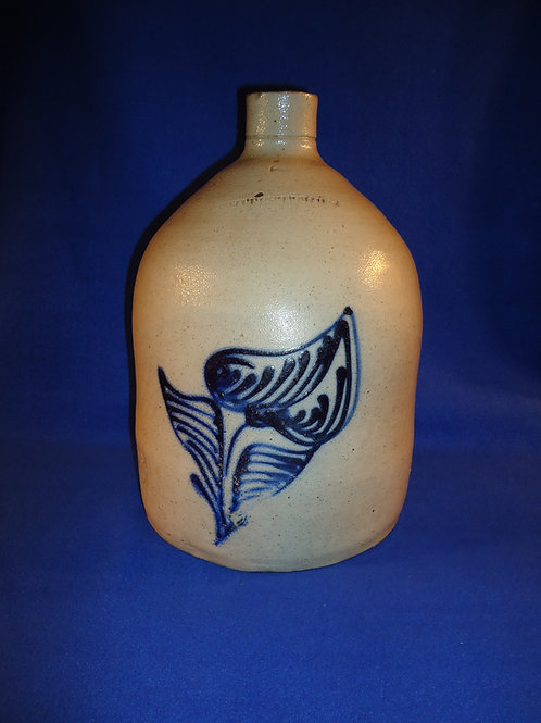 Whites of Utica Stoneware 2 Gallon Jug with Large Orchid