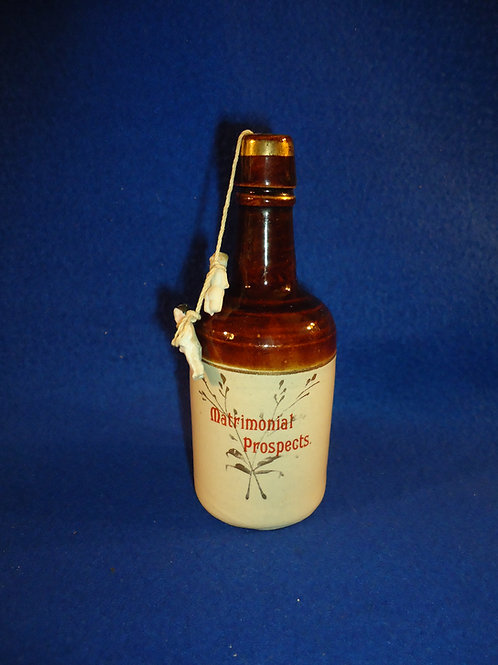 Circa 1900 Stoneware Bottle, Matrimonial Theme, Two Dolls #4438