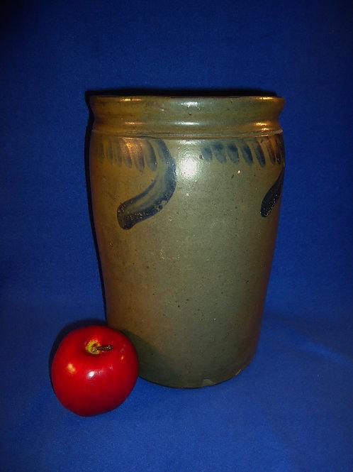 Circa 1880 2 Gallon Stoneware Jar with Comma Vining from Virginia