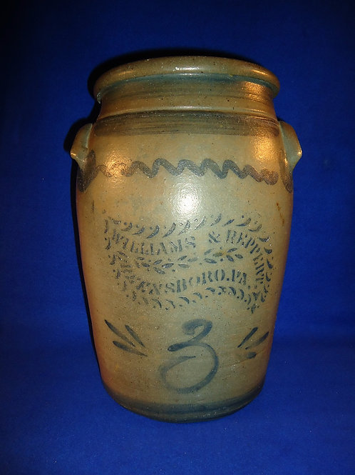 Williams and Reppert, Greensboro, Pennsylvania Stoneware 3 Gallon Jar