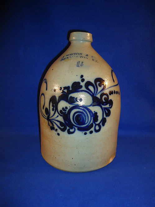 J. Norton, Bennington, Vermont Stoneware 1 1/2 Gallon Jug with Bouquet #5081