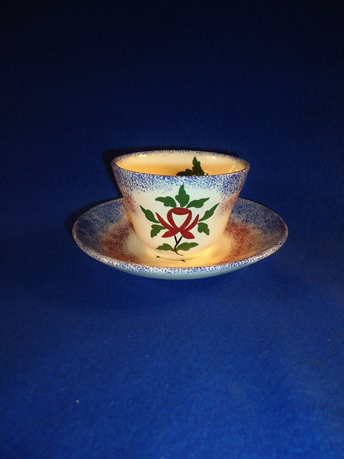 Blue and Red Spatterware Cup and Saucer with Rose, att. Cybis