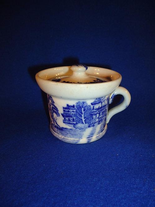 19th C English (Staffordshire) Transferware Mustard Pot, Blue Willow Pattern