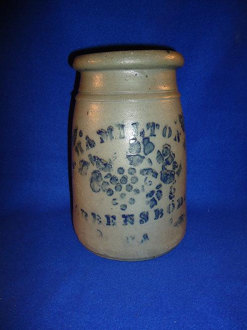 "James Hamilton, Greensboro, Pennsylvania Stoneware 10"" Wax Sealer with Grapes"