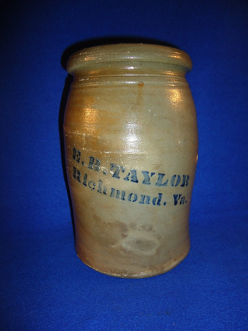 E. B. Taylor, Richmond, Virginia Stoneware 1g Jar by Donaghho of Parkersburg, WV