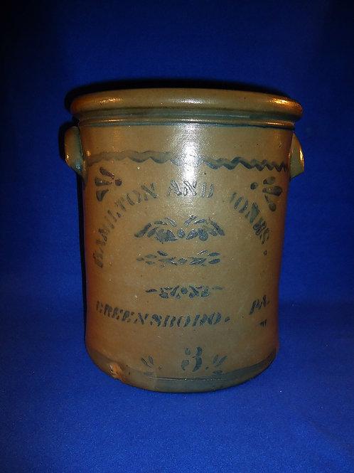 Hamilton and Jones, Greensboro, Pennsylvania Stoneware 3 Gallon Crock