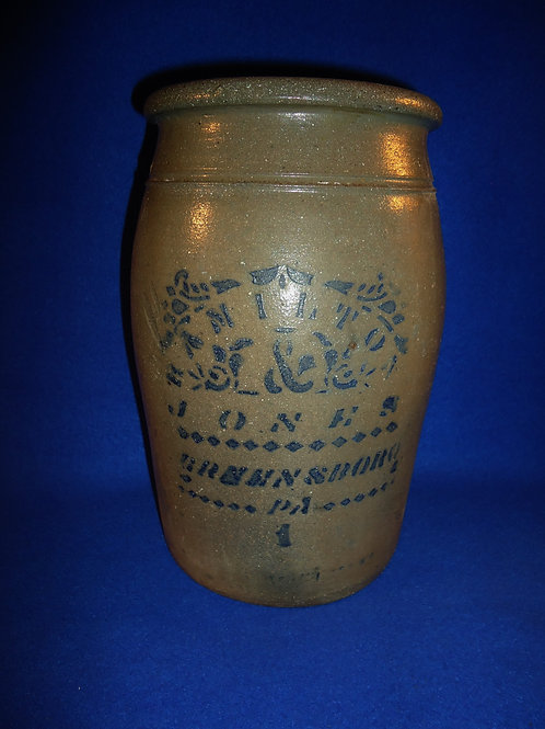 Hamilton and Jones, Greensboro, Pennsylvania Stoneware Jar with Fancy Stencil