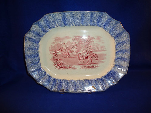 Spatterware Stoneware Platter in the Peruvian Horse Pattern