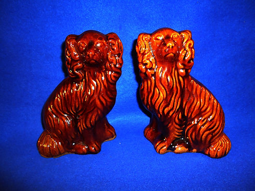19th Century Matching Pair of Diminutive Yellow Ware Seated Spaniels