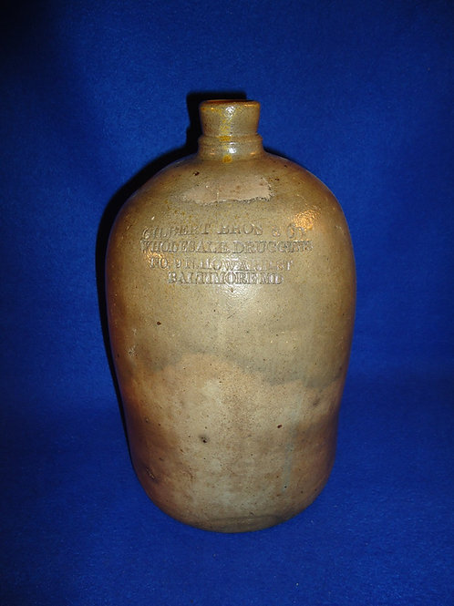 Gilbert Bros. Druggists, Baltimore, Maryland 1g Stoneware Jug