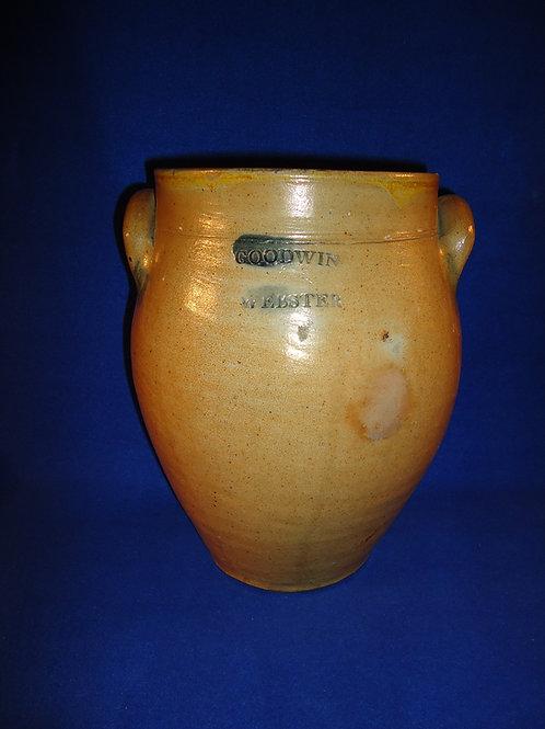 Goodwin & Webster, Hartford, Connecticut Stoneware 2 Gallon Ovoid Jar