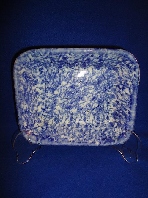 Blue and White Spongeware Stoneware Rectangular Baking Dish #4545