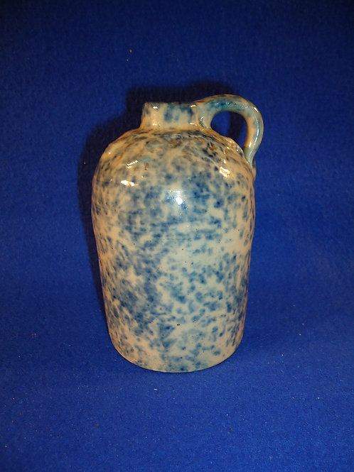 F. H. Weeks, Akron, Ohio Stoneware Blue and White Spongeware Jug