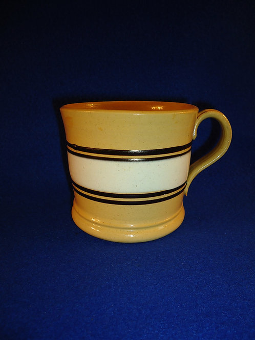 Late 19th Century Yellow Ware Mug with Slip Stripes