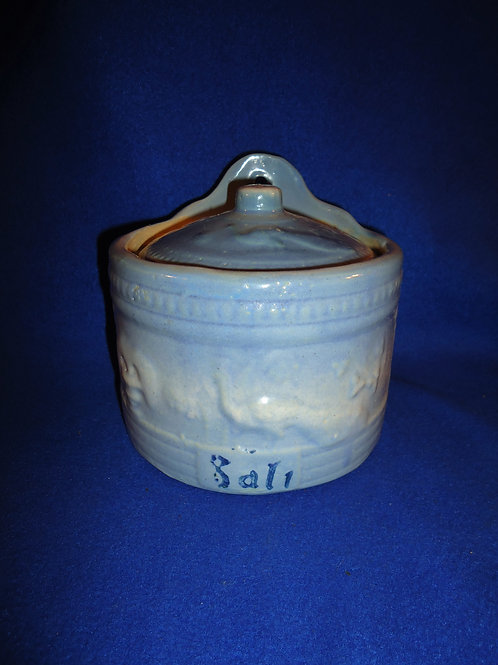Blue and White Stoneware Salt Crock in the Peacock Pattern #5138
