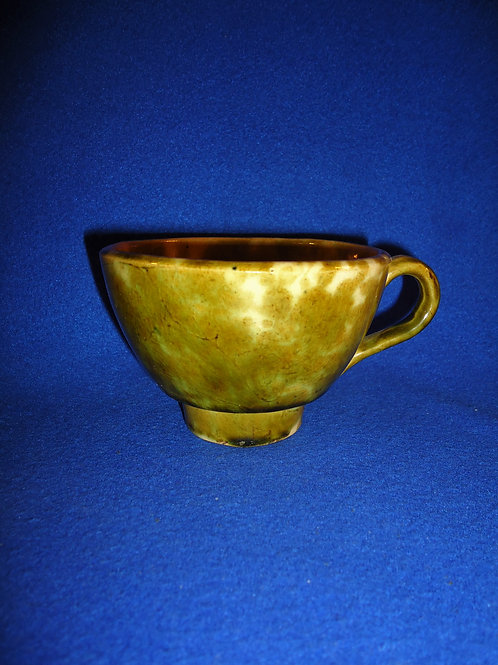 Rare Yellow Ware Fruit Funnel in Green Glaze #4478