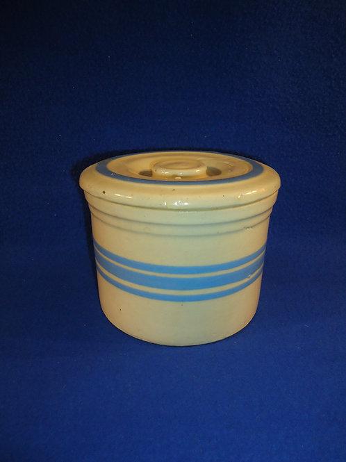 Yellow Ware Blue Striped Lidded Butter Crock  #4455