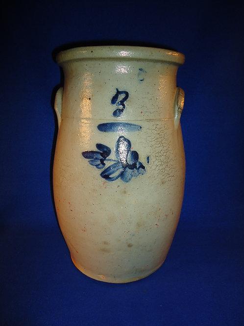 3 Gallon Semi-Ovoid AStoneware Churn with Tulip from Ohio