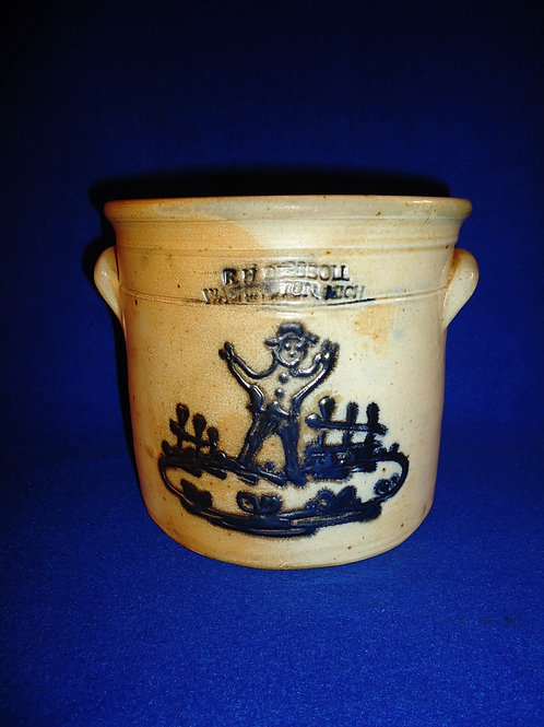 R. H. Diebboll, Washington, Michigan Tiny Stoneware Crock with Scarecrow