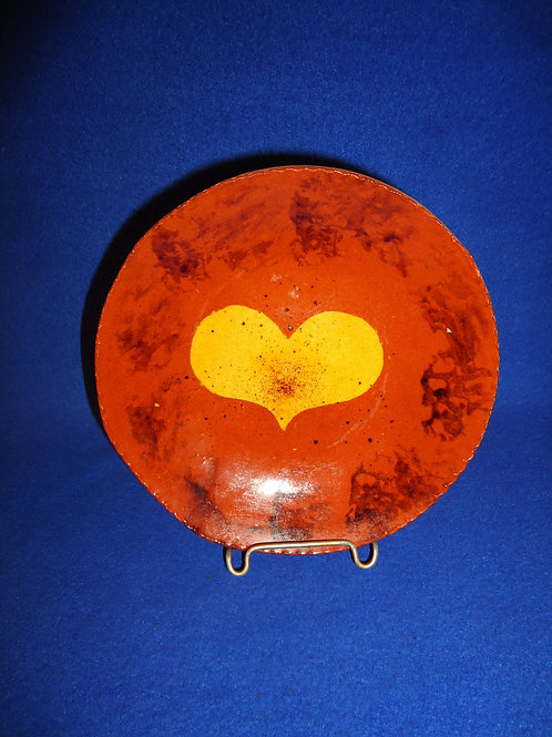 Lester & Barbara Breininger, Robesonia, PA Redware Plate with Heart #5800