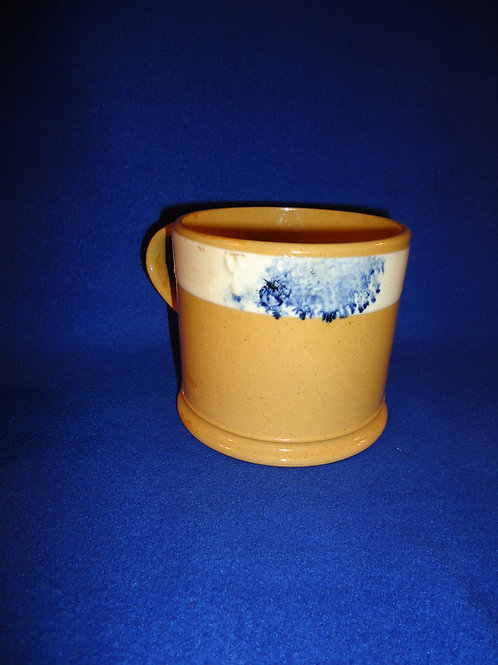 19th Century Yellow Ware Mug with Blue Mocha Seaweed