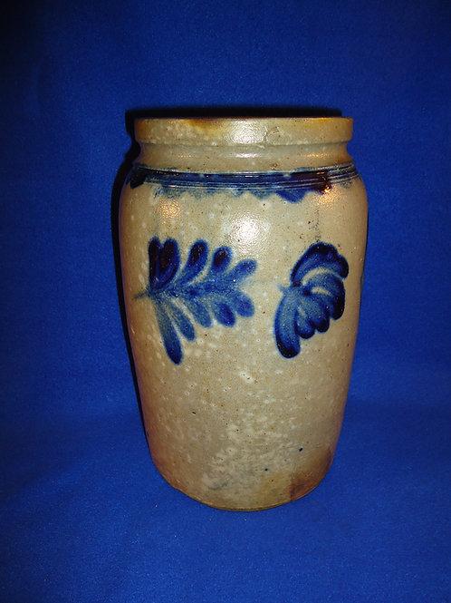 Circa 1870 1 Gallon Stoneware Jar with Tulips, Richard Remmey of Philadelphia
