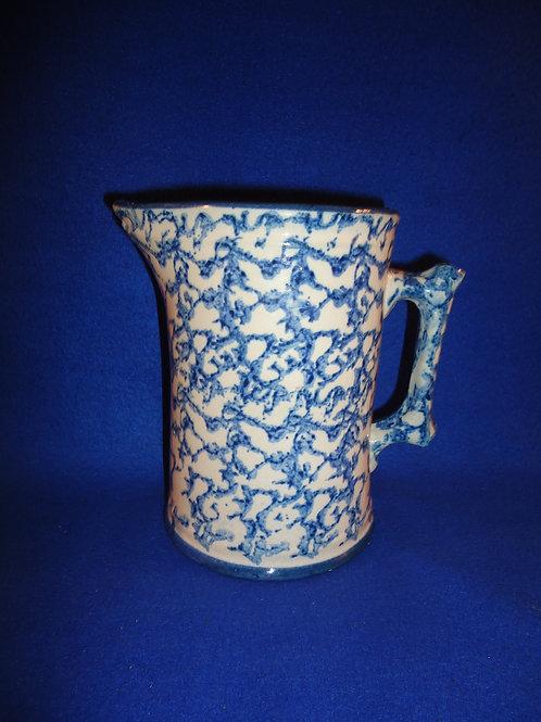 Blue and White Spongeware Stoneware Hallboy Pitcher #5636