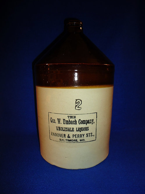 George Umbach, Liquor Dealer, Baltimore, Maryland Stoneware 2g Gallon Jug