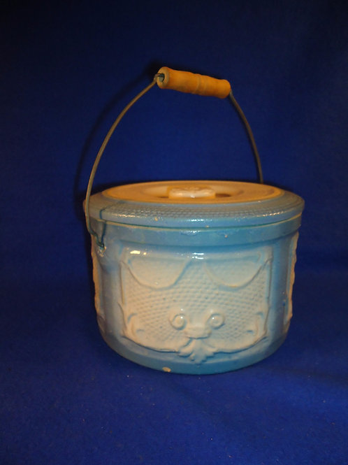 Blue and White Stoneware Draped Windows Butter Crock