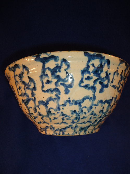 "Blue and White Spongeware Stoneware 10"" Heart-Panel Bowl"