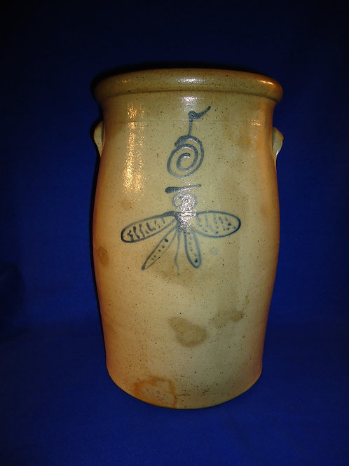 North Star Pottery, Red Wing Minnesota Stoneware Salt Glaze Churn with Butterfly