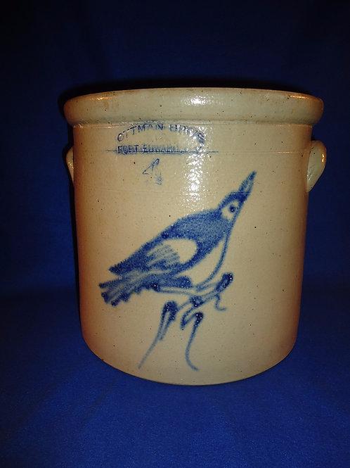 Ottman, Fort Edward, New York Stoneware 4g Crock with Bird on a Stump
