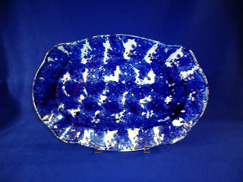 "Blue and White Spongeware Stoneware 13 1/2"" Platter, Scallop and Scroll"