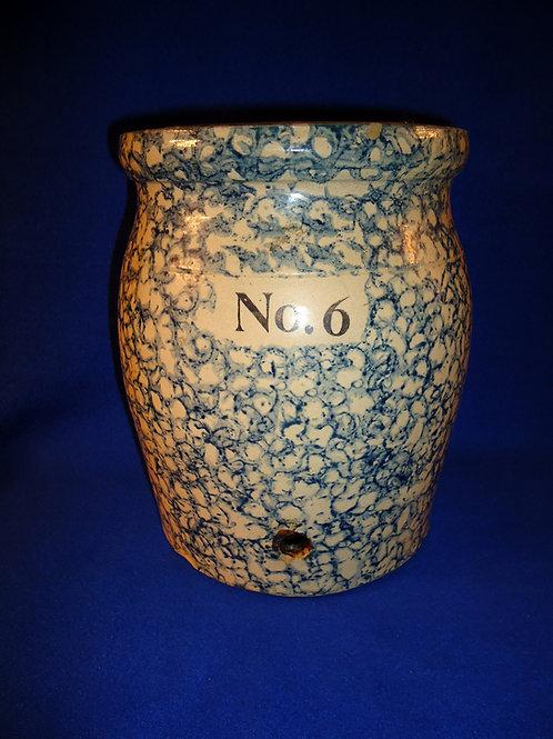 Blue and White Spongeware Stoneware Water Cooler Base, Fulper