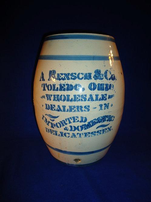 Rensch, Toledo, Ohio  Delicatessen Blue and White Stoneware Barrel Dispenser