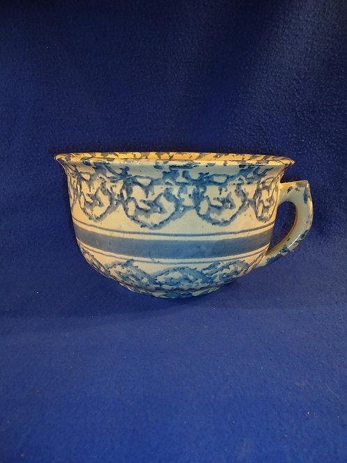 Blue and White Spongeware Stoneware Striped Chamber Pot