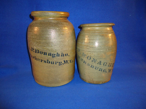 Pair of A. P. Donaghho, Parkersburg, WV Stoneware Wax Sealers #4556